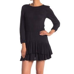 NWT David Lerner | Black Tiered Ruffle Mini Dress